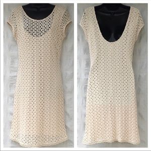 Free People cap sleeve large knit dress in natural